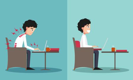 person sitting: La muestra del tipo sentado en caminos equivocados y derecha, ilustraci�n, vector Vectores