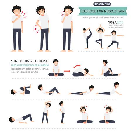Übung für Muskelschmerzen Infografik, Vektor-Illustration.