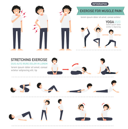 Übung für Muskelschmerzen Infografik, Vektor-Illustration. Vektorgrafik