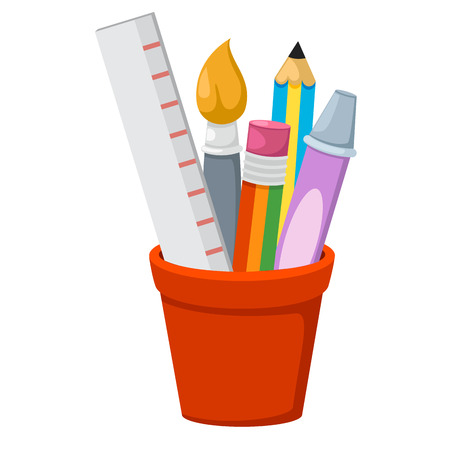 pencil holder: school accessories isolated in holder,illustration,vector