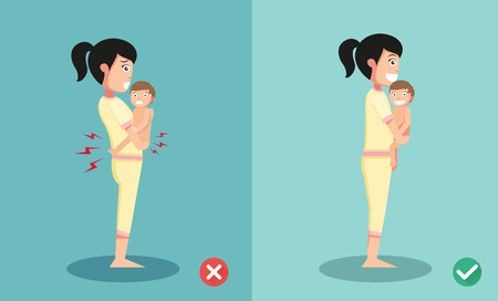 Best and worst positions for standing holding little baby, illustration, vector