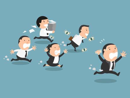patron: El jefe de huir de sus empleados, ilustración vectorial Vectores