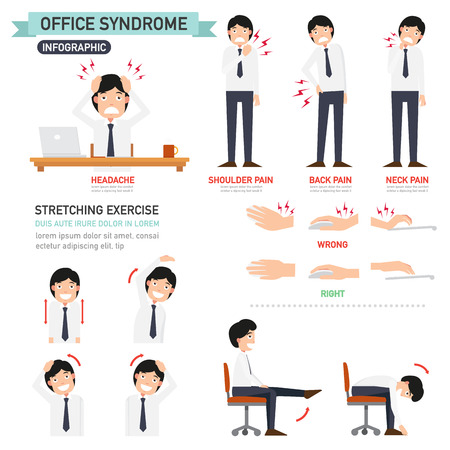 work injury: office syndrome infographic,vector illustration