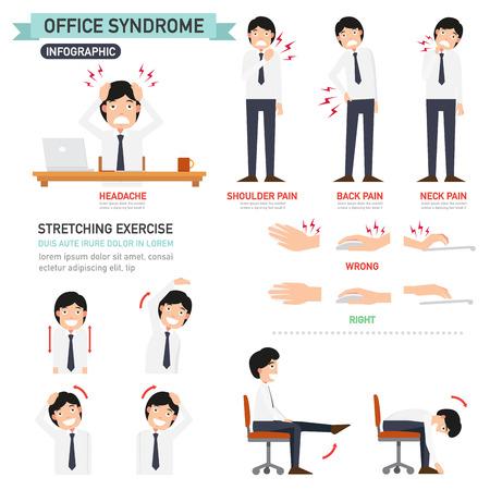 estiramientos: síndrome de la oficina infografía, ilustración vectorial Vectores
