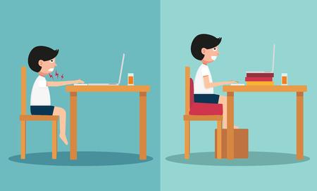 buena postura: La muestra del tipo sentado en caminos equivocados y derecha, ilustración, vector Vectores
