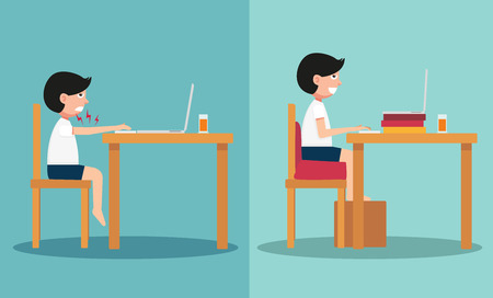 The sample of the guy sitting in wrong and right ways, illustration, vector Ilustrace