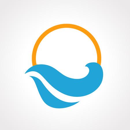 Illustratie van geïsoleerde zonsondergang en de zee golven pictogram vector Stock Illustratie