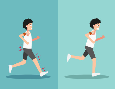 Best and worst positions for running, illustration,vector Stock Illustratie
