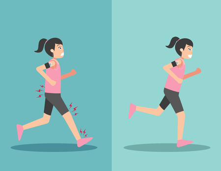 worst: Best and worst positions for running, illustration,vector Illustration