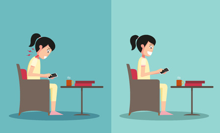 worst: Best and worst positions for playing smart phone illustration,vector Illustration