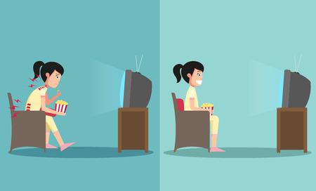 La muestra del tipo sentado en caminos equivocados y derecha para ver la televisión, ilustración, vector