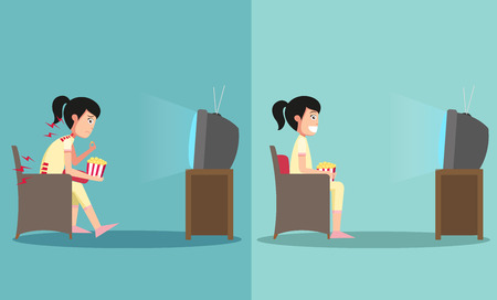 tv: The sample of the guy sitting in wrong and right ways for watching tv, illustration, vector