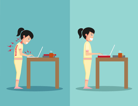 comely: Best and worst positions for standing use laptop, illustration,vector