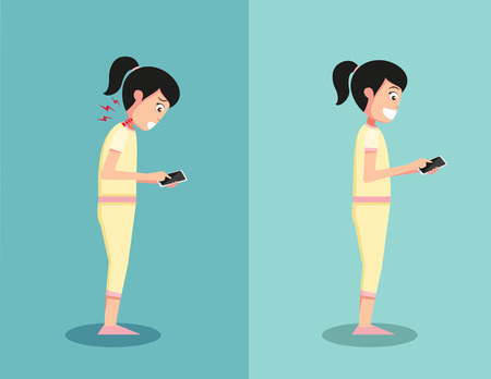 Best and worst positions for playing smart phone illustration,vector Иллюстрация
