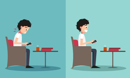 typing: Best and worst positions for playing smart phone illustration,vector Illustration