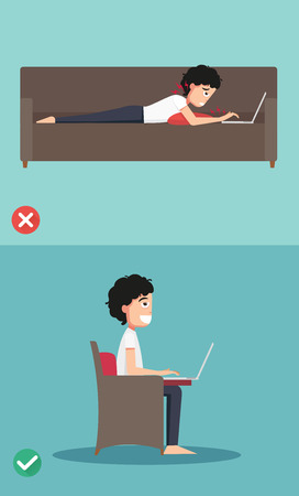 proper: Best and worst positions for use laptop, illustration, vector Illustration