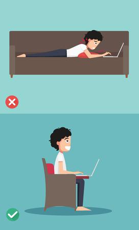 buena postura: Mejores y peores posiciones para uso portátil, ilustración, vector