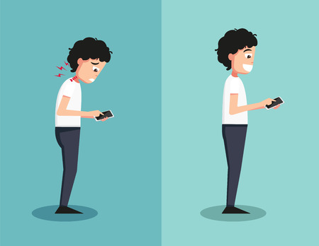 dangers: Best and worst positions for playing smart phone illustration,vector Illustration