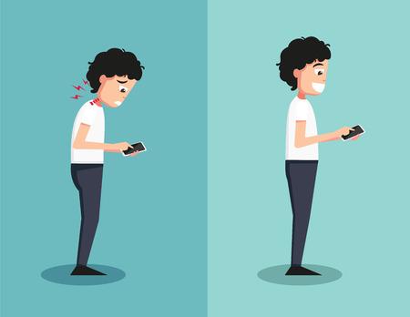 Beste en slechtste posities voor het spelen smart phone illustratie, vector