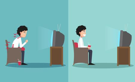 viendo television: La muestra del tipo sentado en caminos equivocados y derecha para ver la televisi�n, ilustraci�n, vector
