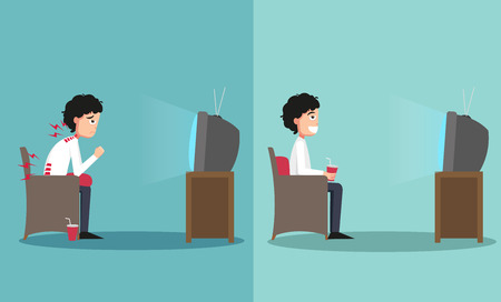posture: The sample of the guy sitting in wrong and right ways for watching tv, illustration, vector