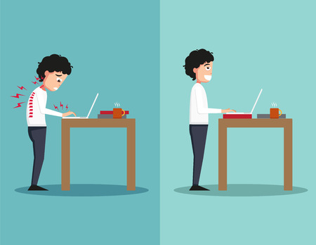 Best and worst positions for standing use laptop, illustration,vector