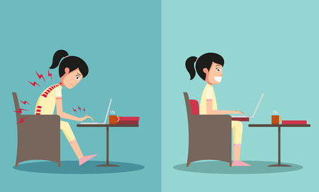 improper: The sample of the guy sitting in wrong and right ways, illustration, vector Illustration