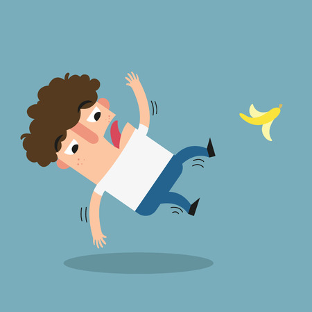 descuidado: Watch your step.slipping on a banana peel isolated illustration vector