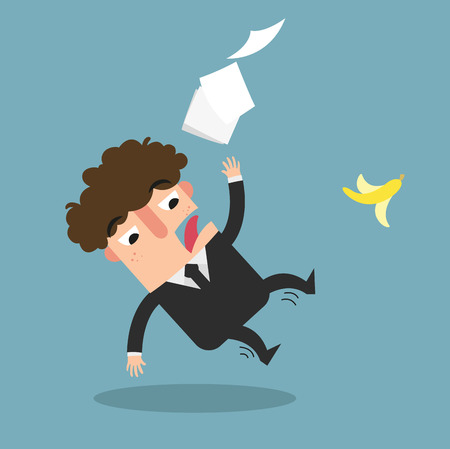 accident prevention: Watch your step. Businessman slipping on a banana peel isolated illustration vector Illustration