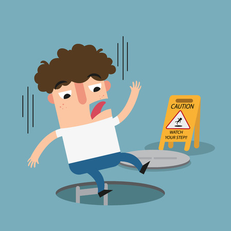 janitorial: Watch your step caution sign. danger of falling isolated illustration vector