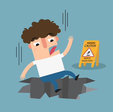 slip hazard: Watch your step caution sign.Danger of huge hole isolated illustration vector