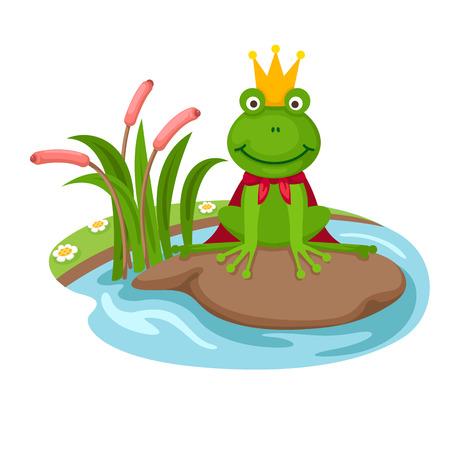 illustratie van geïsoleerde de kikker koning op een witte achtergrond, vector Stock Illustratie