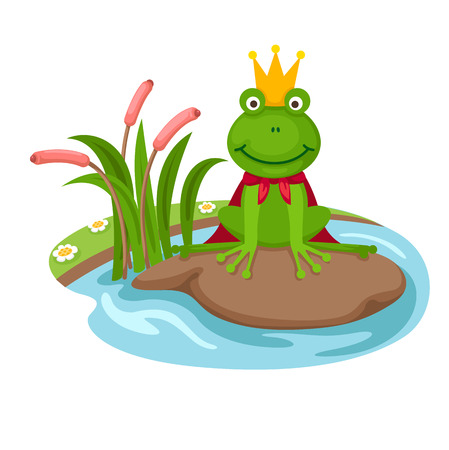 illustration of isolated the frog king on a white background,vector Иллюстрация