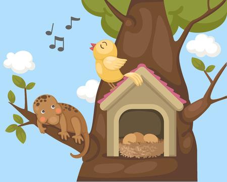 bird nightingale: illustration of nightingale bird on bird house Illustration