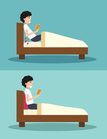 Beste en slechtste posities voor een boek lezen Stock Illustratie