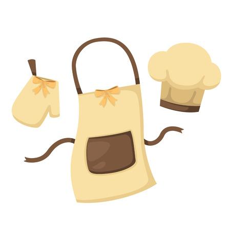 illustratie van geïsoleerde set keuken handschoen en schort en chef hoed op een witte achtergrond