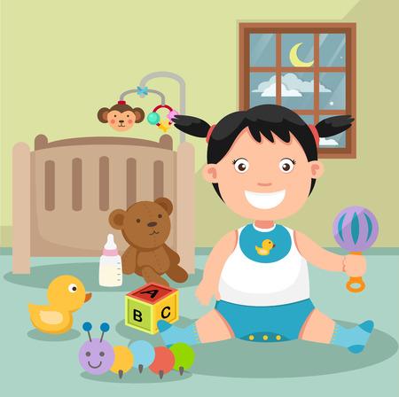 illustration d'un bébé jouant dans un vecteur de chambre
