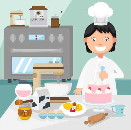 cocinero: chef de repostería decora un cake.illustration, vector