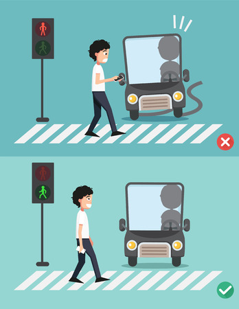 watch your step.men on the crosswalk ,illustration,vector Illustration