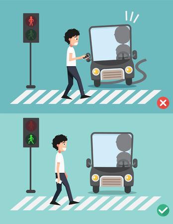 alerta: ver sus step.men en el paso de peatones, ilustraci�n, vector Vectores