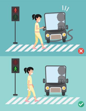 watch your step.women on the crosswalk ,illustration,vector