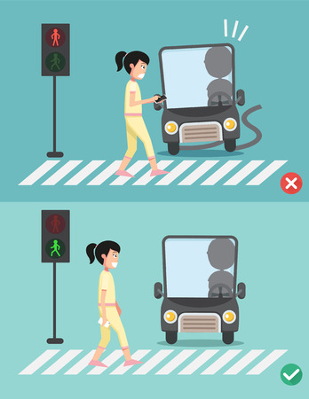 crosswalk: watch your step.women on the crosswalk ,illustration,vector