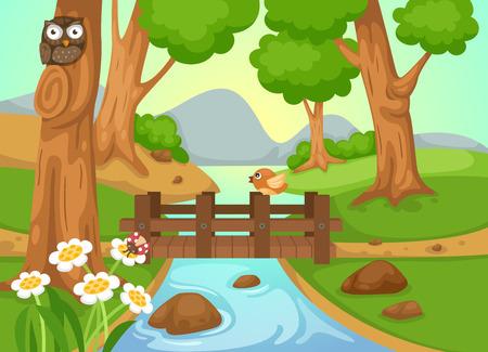 flor caricatura: ejemplo de bosque con un vector de fondo de río