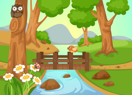 owl cartoon: illustration of forest with a river background vector