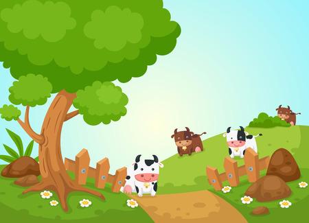 田園風景と牛のイラスト