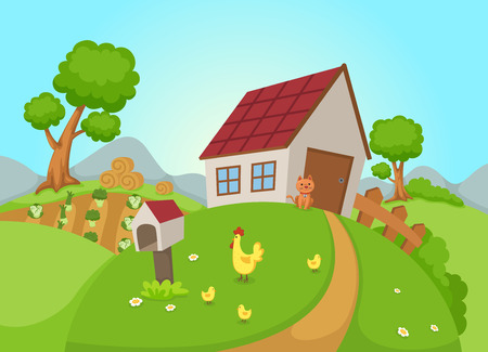 country farm: illustration of rural landscape vector Illustration