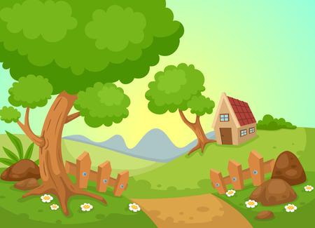 summer cartoon: illustration of rural landscape vector Illustration