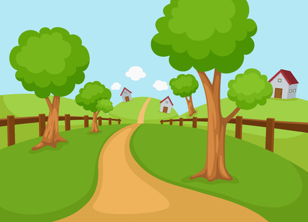 illustration of rural landscape vector Иллюстрация