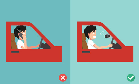 no cell phones - while driving,illustration,vector Vectores