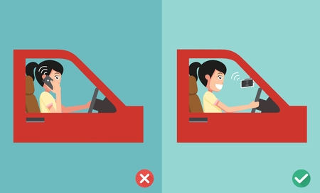 no cell phones - while driving,illustration,vector Illustration